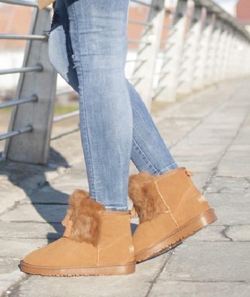 Ženski zimski škornji - gležnarji Mary camel